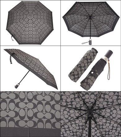 COACH Black & Gray Signature push-button retractable UMBRELLA-1269