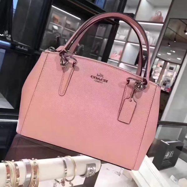 COACH New Mini Christie Satchel and Cross-body Cross-grain Leather Blush Pink/Silver -1297