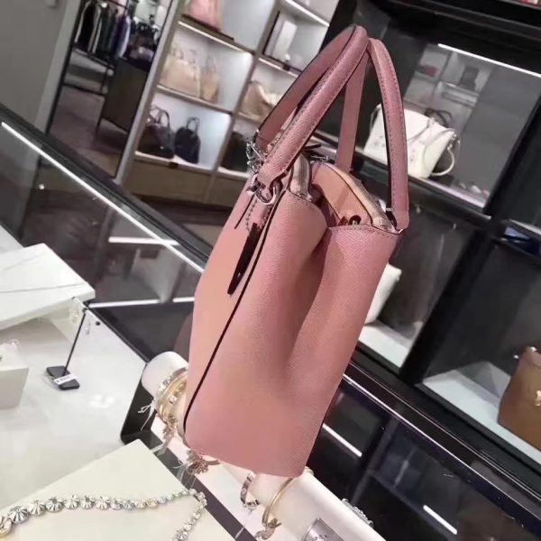 COACH New Mini Christie Satchel and Cross-body Cross-grain Leather Blush Pink/Silver -1293